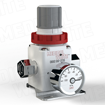 VMW-140-B-G-N02 - High Flow Vacuum Regulator - With Bracket, Gauge, 1/4